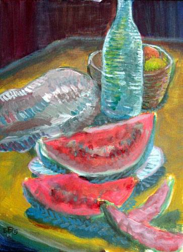 Still life with watermelon by Nickolai Barabanov